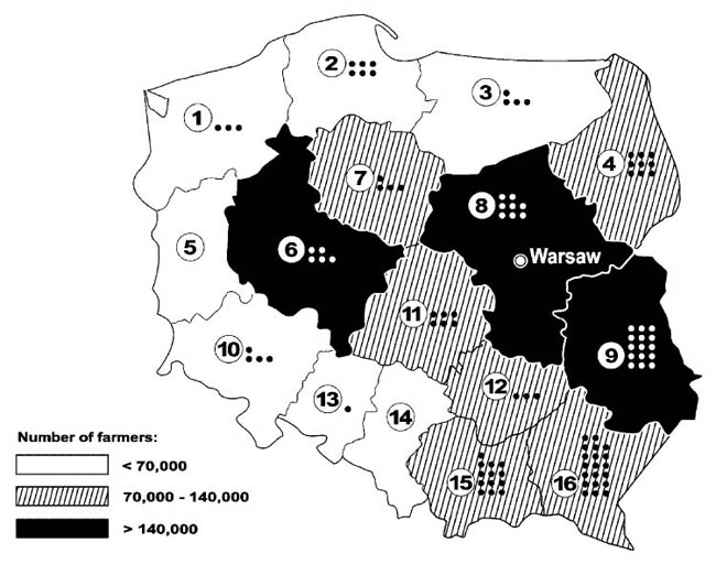 Most cases of occupational skin disease were diagnosed in south-eastern Poland.